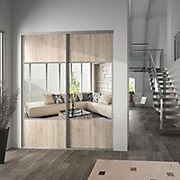 Valla Natural oak effect Mirrored Sliding Wardrobe Door (H)2260mm (W)922mm