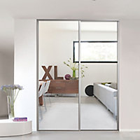 Valla Silver effect Mirrored Sliding Wardrobe Door (H)2260mm (W)922mm