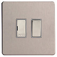 Varilight 13A Brushed steel effect Switched Fused connection unit