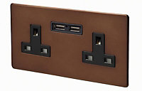 Varilight 13A Mocha Double USB socket