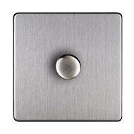Varilight 2 way Single Steel effect Dimmer switch