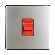 Varilight 45A 1 way Satin silver effect Single Cooker Switch