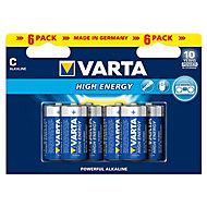 Varta Longlife Power Non rechargeable C (LR14) Battery, Pack of 6