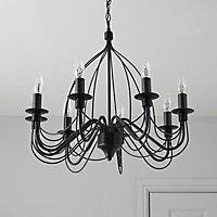 Vas Matt Black 8 Lamp Chandelier Ceiling light