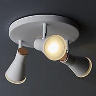 Vaughan Satin White Mains-powered 3 lamp Spotlight