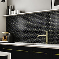 Venice Black Mirror effect Glass & marble 2x2 Mosaic tile, (L)300mm (W)300mm