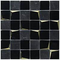 Venice Black Polished Mirror effect Glass & marble 2x2 Mosaic tile, (L)300mm (W)300mm