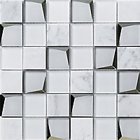 Venice White Polished Mirror effect Glass & marble 2x2 Mosaic tile, (L)300mm (W)300mm