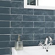 Vernisse Blue Gloss Ceramic Wall Tile, Pack of 41, (L)301mm (W)75.4mm