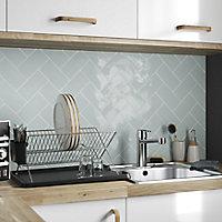 Vernisse Blue Gloss Ceramic Wall Tile, Pack of 80, (L)150mm (W)75.4mm