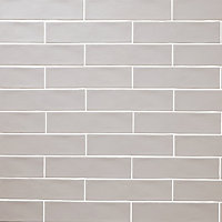 Vernisse Grey Gloss Ceramic Wall Tile, Pack of 41, (L)301mm (W)75.4mm