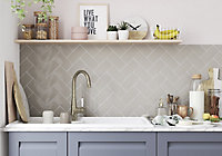 Vernisse Grey Gloss Ceramic Wall Tile, Pack of 80, (L)150mm (W)75.4mm