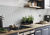 Vernisse Light grey Gloss Ceramic Wall Tile, Pack of 80, (L)150mm (W)75.4mm
