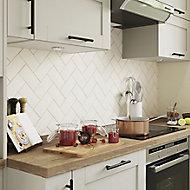 Vernisse Off white Gloss Ceramic Wall Tile, Pack of 80, (L)150mm (W)75.4mm