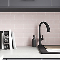 Vernisse Pink Gloss Ceramic Wall Tile, Pack of 80, (L)150mm (W)75.4mm