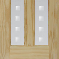 Vertical 2 panel Patterned Frosted Glazed Clear pine LH & RH Internal Door, (H)1981mm (W)838mm