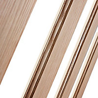 Vertical 3 panel Clear Glazed Oak veneer LH & RH Internal Door, (H)1981mm (W)762mm (T)35mm