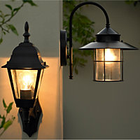 Vincent Fixed Matt Black Mains-powered Incandescent Outdoor Wall lantern