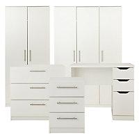 Vinova Matt white 3 Drawer Bedside table (H)585mm (W)400mm (D)401mm