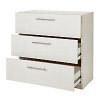 Vinova Matt white 3 Drawer classic Chest of drawers (H)795mm (W)800mm (D)401mm