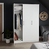Vinova Matt white Triple Wardrobe (H)1995mm (W)1350mm (D)500mm