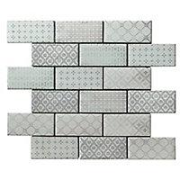 Vintage Blush & white Glass Mosaic tile, (L)300mm (W)350mm