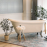Vintage Grey & pink Glass 2x2 Mosaic tile, (L)300mm (W)300mm