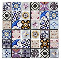 Vintage Moroccan style Pattern Glass Mosaic tile, (L)300mm (W)300mm