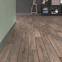 Vintage oak Natural Matt Wood effect Porcelain Wall & floor Tile, Pack of 7, (L)900mm (W)150mm