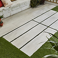 Vintage White Matt Wood Wood effect Porcelain Outdoor Floor tile, Pack of 2, (L)1195mm (W)297mm