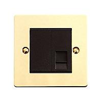 Volex 1 gang Flat plate Brass effect Telephone socket