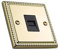 Volex 1 gang Raised Brass effect Telephone socket