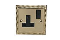 Volex 13A Brass effect Single Switched Socket