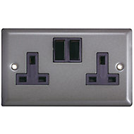 Volex 13A Grey pewter effect Double Indoor Switched Socket
