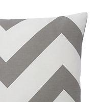 Wabana Herringbone Grey & white Cushion (L)45cm x (W)45cm
