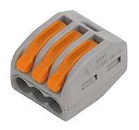 Wago 222 series Grey 32A 3 way In-line wire connector, Pack of 50