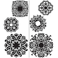 Wallpops Baroque Black Self-adhesive Wall sticker (H)740mm (W)1500mm