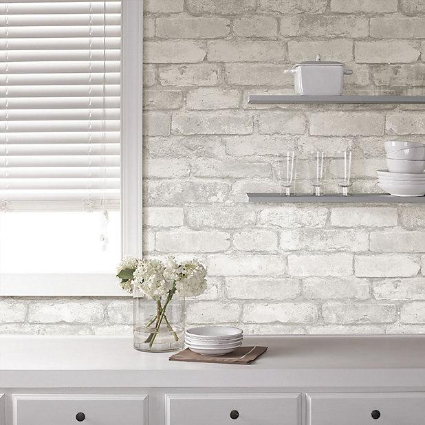 Wallpops Grey Brick Smooth Wallpaper Diy At B Q