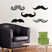 Wallpops Moustache Black Self-adhesive Wall sticker (H)430mm (W)610mm