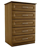 Walnut effect 5 Drawer Chest of drawers (H)1130mm (W)600mm (D)500mm