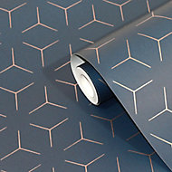 Wandou Royal blue Geometric Metallic effect Smooth Wallpaper