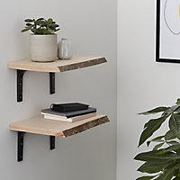 Waney edge Beech Furniture board, (L)0.4m (W)300mm (T)25mm