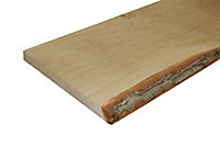 Waney edge Oak Furniture board, (L)0.9m (W)300mm (T)25mm