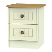 Warwick Matt cream 2 Drawer Compact Bedside chest (H)505mm (W)395mm (D)415mm