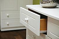 Warwick Matt white 3 Drawer Desk (H)795mm (W)930mm (D)415mm