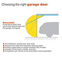 Washington Retractable Glazed Garage door, (H)1981mm (W)2438mm