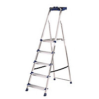 Werner 5 tread Aluminium & steel Step Ladder (H)1.68m