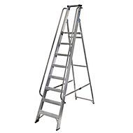 Werner 8 tread Aluminium Platform step Ladder (H)2.32m