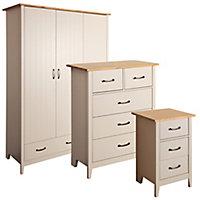 Westwick Grey pine effect 3 piece Bedroom furniture set