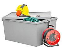 Wham Storage Heavy duty Upcycled soft grey 150L Polypropylene XXL Storage box